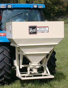 32 bushel 2440 lbs. capacity Herd broadcast seeder, broadcast spreader.