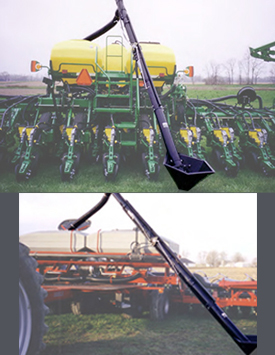 Seed auger for central fill planters and drills.