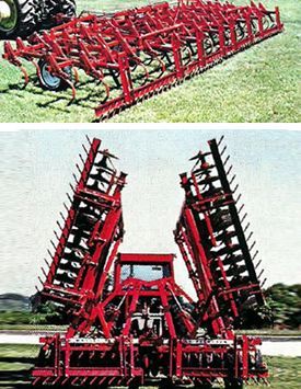Drag bar harrows, part of Kasco's agricultural equipment.